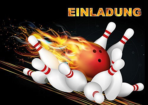 8-er Set Bowling-Einladungskarten (Nr. 10694) zum Kindergeburtstag oder zum Kegel-Abend von EDITION COLIBRI © - umweltfreundlich, da klimaneutral gedruckt