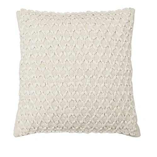 Beautyrest Laurel Woven Embellishment Decorative Pillow, 16 x 16, Ivory