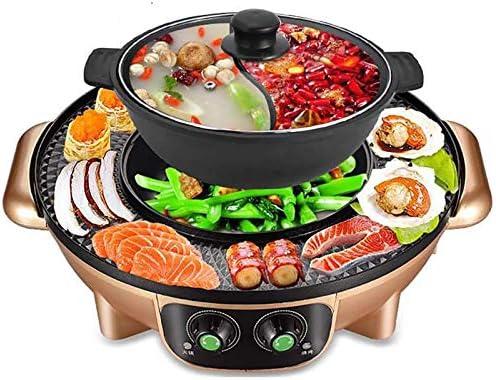 Coréen Barbecue Hot Pot Double Pot, Pot De Cuisson Intégrée, Électrique Hot Pot Électrique Barbecue Électrique Cuisson Pan, Or