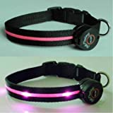 Dog Collar with Pink LED Lights, Multi-Function, Small, My Pet Supplies