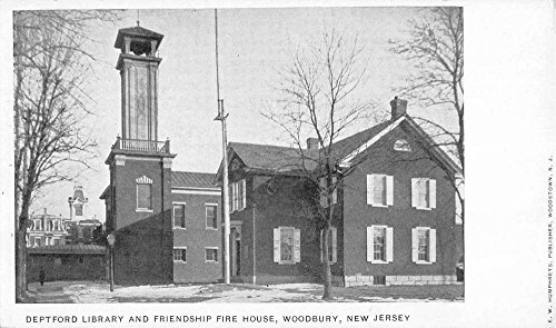 Woodbury New Jersey Fire House Deptford Library Antique Postcard - Deptford Stores