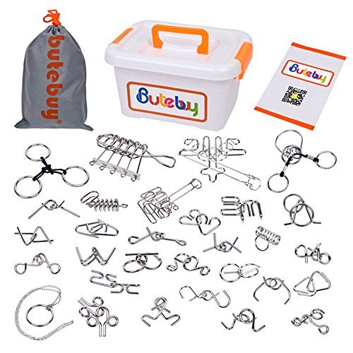 Right Brain Teaser Puzzle - Sea Team 30-Pack Assorted Brain Teasers Metal Wire IQ Puzzles with Plastic Box Package Great Educational Intelligence Toys for Adult Children and Student