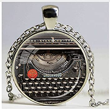 Vintage máquina de escribir grabadora de colgante, regalo, para grabador máquina de escribir collar