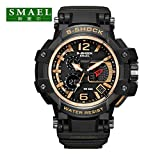 SMAEL Men's Sports Analog Digtal Wrist Watch Dual Quartz Movement Military Time Water Resistant with Backlight(Gold)