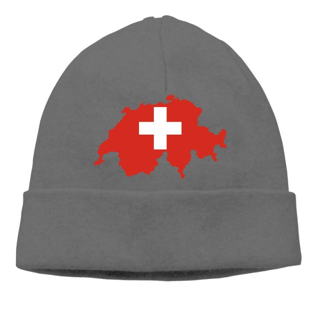 COLLJL8 Unisex Flag-map of Switzerland Outdoor Warm Beanies Hat Soft Winter Skull Caps