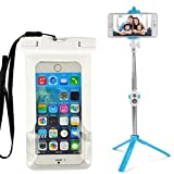 Summer Beach Fun Funda impermeable y Selfie Stick/Palo para Selfies Bluetooth para Iphone 7 7s Plus 6 6S, Blanco