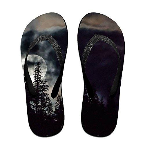 Unisexe Bleu Nuages bleu Lune Été Sangle Tongs Plage Pantoufles Plates-formes Sandale Pour Hommes Femmes Noir