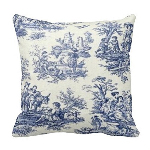 Jidmerrnm Blue Vintage Toile Home Decorative Throw Pillow Cover Cushion Case 18 X 18 Inch ()