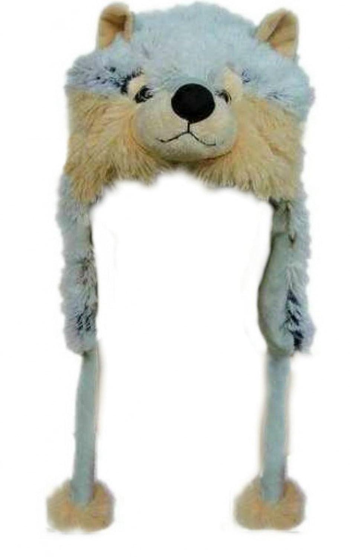 Tiermütze, Motiv Wolf, grau/beige, verschiedene Größen