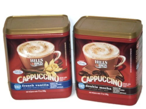 Hills Bros. Cappuccino Sugar Free (2 Pack) 1 French Vanilla and 1 Double Mocha 12 Ounces Each (Hills Brothers Coffee K Cups)