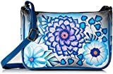 Anuschka Anna Hand Painted Leather Women'S Mini Wide Crossbody, Summer Bloom Blue