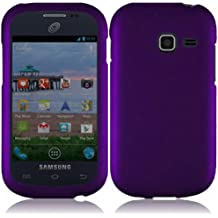5-in-1 Bundle For Samsung Galaxy Centura S738C - Dark Purple Rubberized Hard Case Snap-on Cover + Clear LCD Screen Protector + Car Charger + Home Travel Charger + Sync USB Data Cable