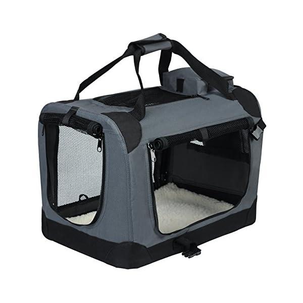 51yBAT2qHAL EUGAD Hundebox faltbar Hundetransportbox Auto für Katzen Kätzchen Chihuahua Havaneser Welpen Grau S (49,5x34,5x35cm…