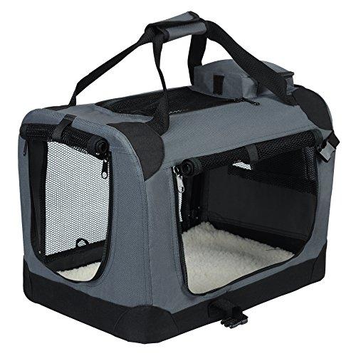 EUGAD Bolsa de Transporte para Mascotas Transportín de Mascotas Perros Gato Plegable para Coche Viaje Avion con Cojín Acolchada, S/49,5×34,5×35 cm Gris 0106HT