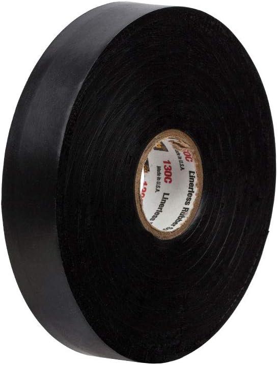 1 pulgada x 30 pies Scotch 1 rollo//cart/ón R negro Cinta de empalme de goma sin revestimiento 130 C