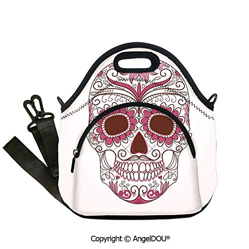AngelDOU Sugar Skull Decor Fashoniable Work Lunch Bags Mexican Ornaments Calavera Catrina Inspired Folk Art Macabre Decorative insulation cold portable outdoor picnic lunch box 12.6x12.6x6.3(inch)