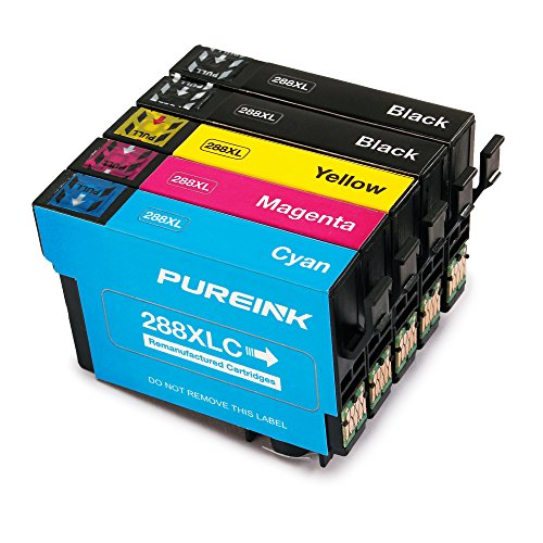 PUREINK Ink cartridges Replacement for 288 288XL, 1 Set+1 Black, High Yield, (2 Black 1 Cyan 1 Magenta 1 Yellow)