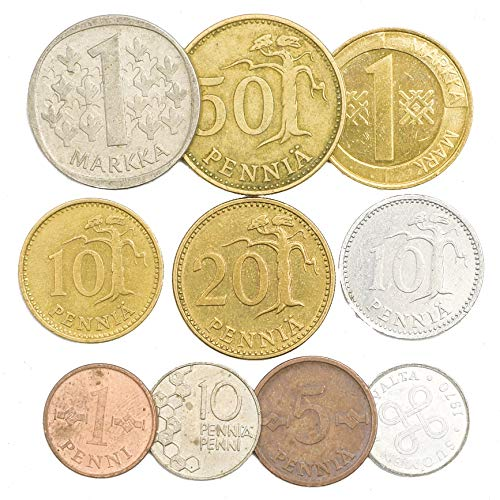 10 Finland Coins Finnish Suomi Penni PENNIÄ MARKKAA 1963-2001. Perfect Choice for Your Coin Bank, Coin Holders and Coin Album
