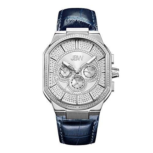 JBW Luxury Men's Orion 0.12 Carat Diamond Wrist Watch with Leather (Case Pave Diamond Dial)