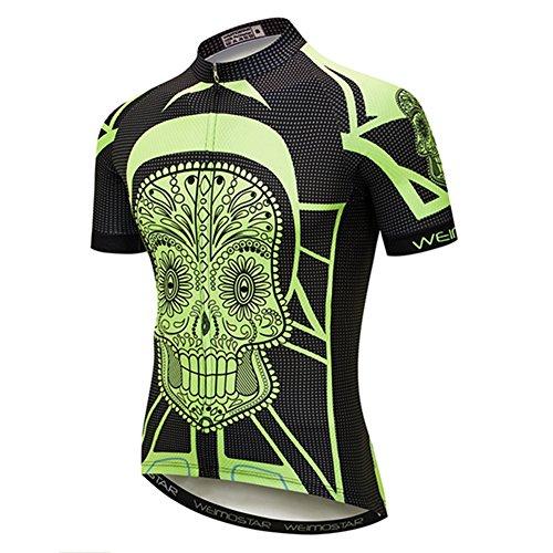 Cycling Jersey Men Mountain Bike Jersey Biking Shirt Jacket 2019 Short Sleeve MTB Clothing Green Skull Size XXXL (Best Bike Jerseys 2019)