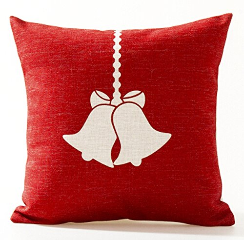 Designer Cushion Cover (Cotton Linen Square Decorative Throw Pillow Case Cushion Cover Beige Shadow Christmas Bells Red Background Best Christmas Gift 18