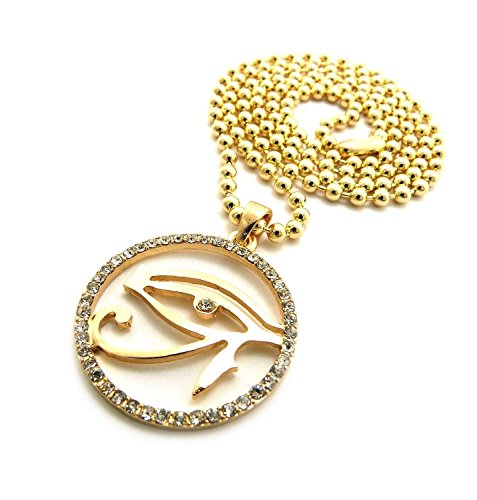 Nefertiti Profile Face + Eye of Heru Egyption Pac Micro Piece Mini Charm Pendant Chain Necklace