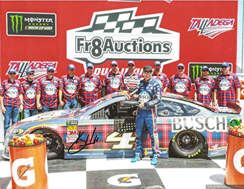 AUTOGRAPHED 2018 Kevin Harvick #4 Busch Beer Flannel Paint Scheme TALLADEGA POLE AWARD (Monster Energy Cup Series) Victory Lane Trophy Signed Collectible Picture 9X11 Inch NASCAR Glossy Photo with COA
