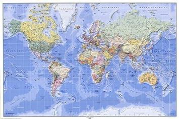 Carteles du Monde – enorme laminada – Póster Mapa del mundo físico ...