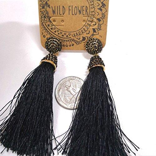 Bronzed Cuff - Outside single trade exaggerated original single bronzed black evening dress palace Latin square dance tassel earrings