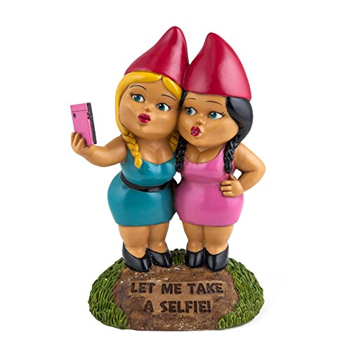 BigMouth Inc. The Selfie Sisters Garden Gnome, 9-inch Tall Funny Lawn Gnome Statue, Weatherproof Garden Decoration by BigMouth Inc
