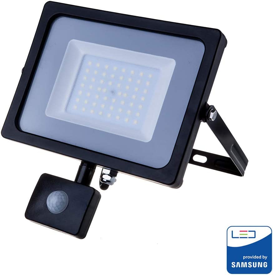 V-TAC 10W with Motion Sensor Waterproof Outside Security LED Floodlight with Samsung LED Black Body Grey Glass IP65 6400K White 800 Lumens