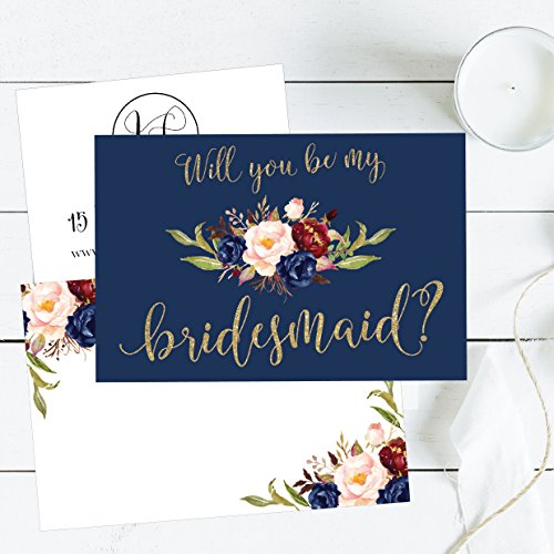 15 Will You Be My Bridesmaid Cards Navy Floral, Cute Bridesmaids Proposal Note Cards For Gifts, Blank Ask To Be Your Bridesmaids Invitations Set, Asking To Be A Bridesmaid Invite Photo #5