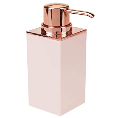 mDesign Modern Square Plastic Refillable Liquid Soap Dispenser Pump Bottle for Bathroom Vanity Countertop, Kitchen Sink - Holds Hand/Dish Soap, Hand Sanitizer, Essential Oils - Light Pink/Rose Gold