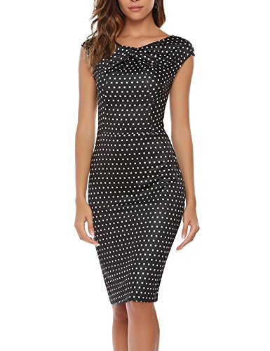 ANGVNS Womens Printing Asymmetric Neckline Ruched Twist Dress Wear To Work Casual Pattern L