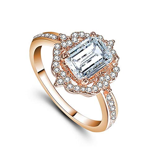 - Wausa Women Charm Ring Rose Gold Fil Emerald Cut White Sapphire Ring Size 6-10 Gift | Model RNG - 9978 | 6