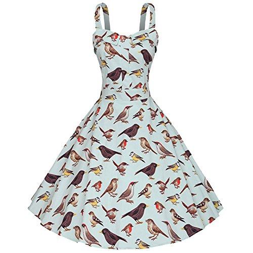 Moollyfox Mujer 1950s Retro Audrey Hepburn Swing Cabestrillo Pájaro Estampado Pin-up Vestido azul