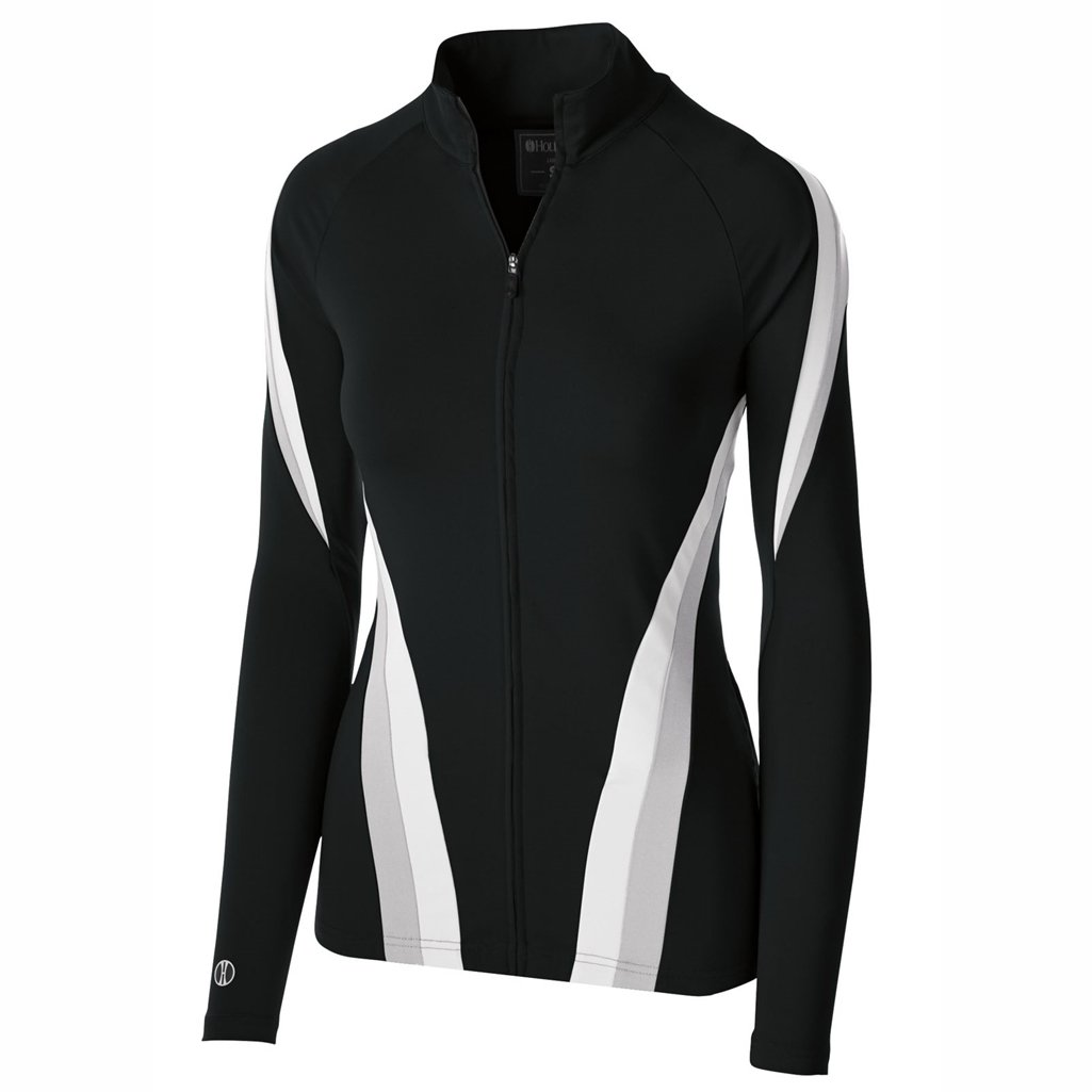 Holloway Dry Excel Girls Aerial Semi Fitted Jacket (Small, Black/Silver/White)