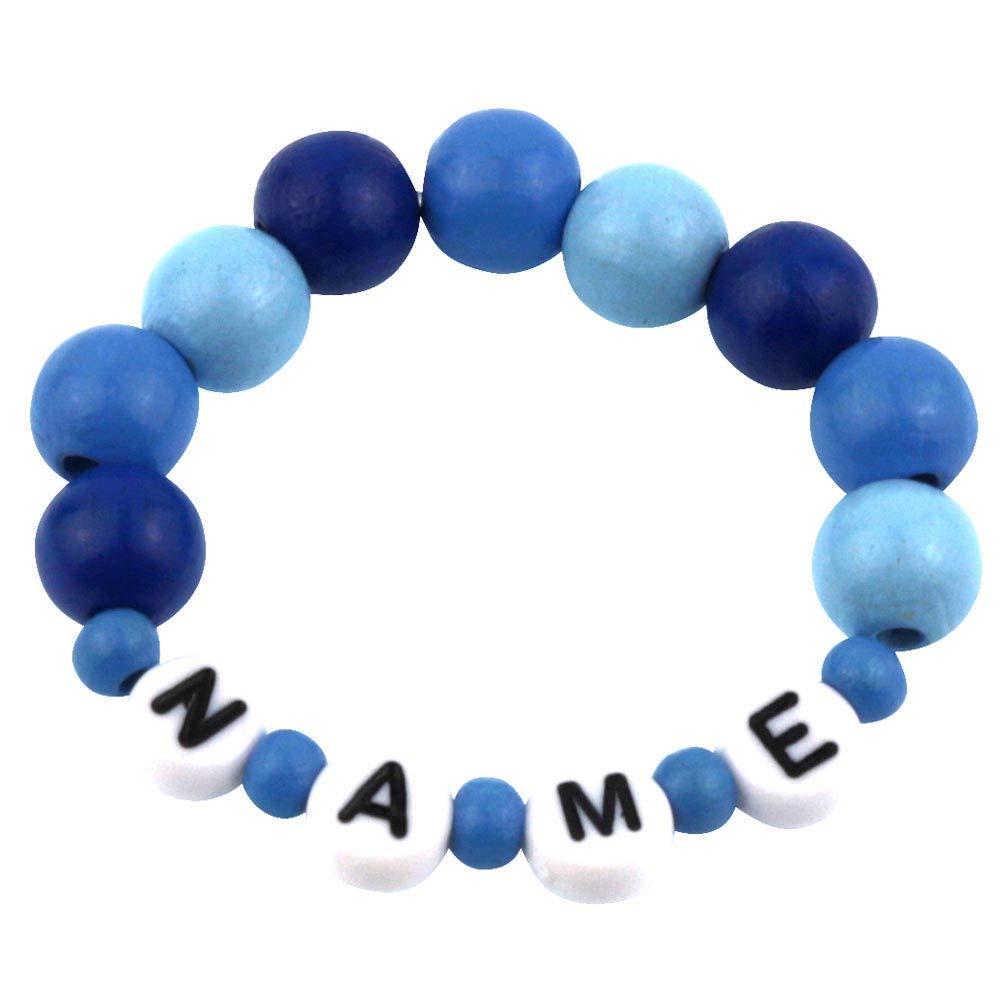 Elefantasie Baby Kinder Armband mit Namen Taufe Geburt Holz 3 Blaut/öne