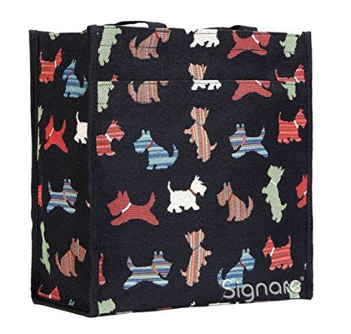 Signare Womens Fashion Tapestry Shopper Bag Shoulder Bag in Scottie Design Black