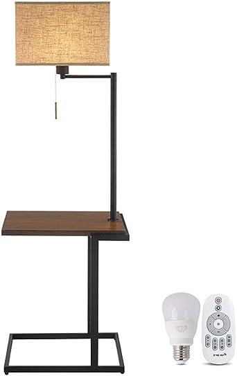 ZH pantallas Lámpara de pie Nordic Modern con bandeja de ...