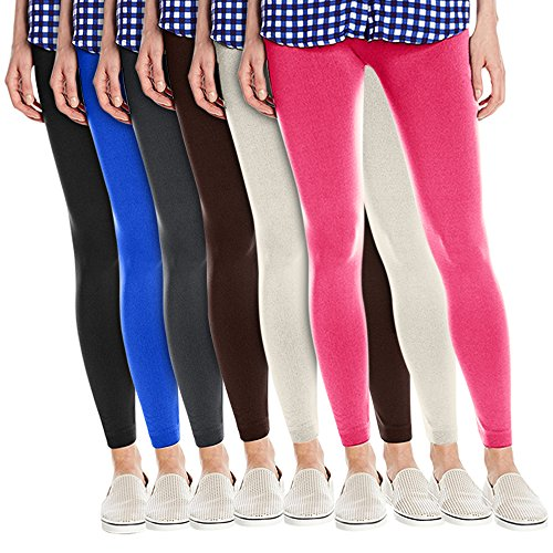 Women's Super Soft Fleece Lined Leggings, One Size - Pack Of 6 - Set 9 - Black, Charcoal, Brown, White, Royal Blue & Pink (Brown Legging Set)