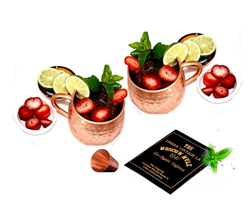 Moscow Mule Copper Mugs Set of 2 With Copper Shot Glass | Handcrafted Hammered Barrel Shape Solid Copper Cups for Moscow Mules or Mint Juleps | 16 oz 2 Pack ()