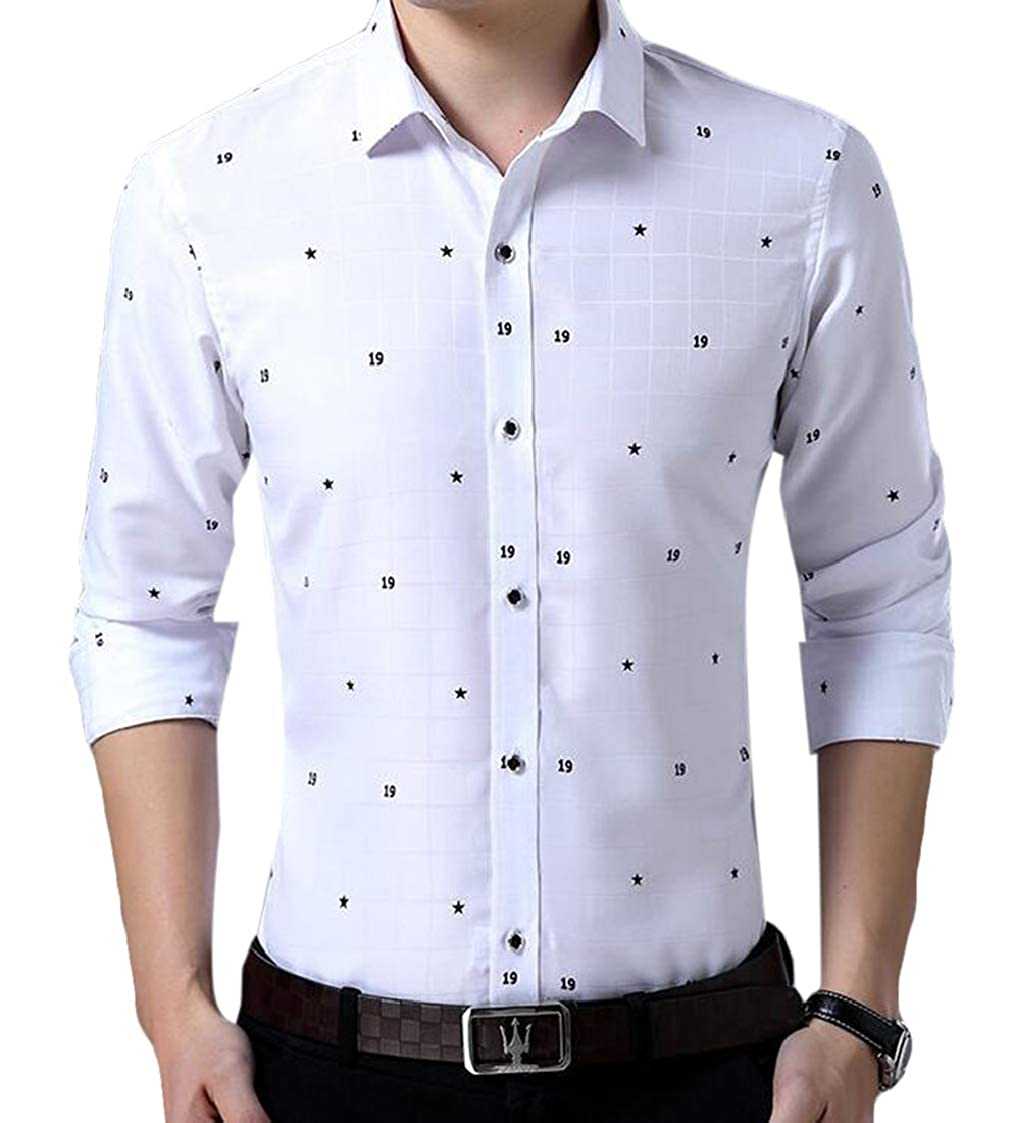 Nanquan Men Long Sleeve Casual Print Over Size Formal Button Down Shirts Tops