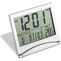 GreatWall Affichage numérique LCD Thermomètre Calendrier Réveil Couverture Souple Horloge de Bureau Argent