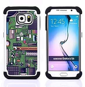 Dragon Case- Dise?¡Ào de doble capa pata de cabra Tuff Impacto Armor h??brido de goma suave de silicona cubierta d FOR Samsung Galaxy S6 G9200- TECHNOLOGY GREEN COMPUTER CODE ART CHIP