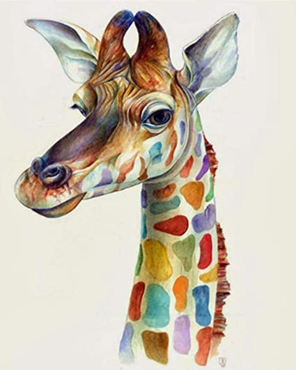 Colorful Giraffe and Butterflies Van-Go Paint-By-Number Kit