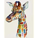 """iCoostor Paint by Numbers DIY Acrylic Painting Kit for Kids & Adults Beginner - 16"""" x 20"""" Giraffe Pattern"""