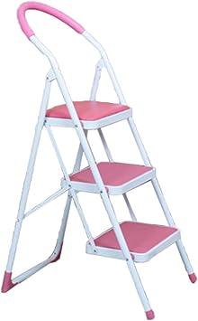 KJZ Escalera del ático, escalera portátil del metal de la escalera del balcón del Tres-paso tamaño portátil 48 * 15 * 130CM de la escalera (color : Pink, Tamaño : 48 * 15 * 130CM): Amazon.es: Bricolaje y herramientas
