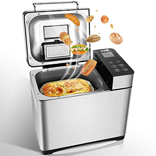 Bread Machine - Automatic Bread Maker Machine with 17 Settings Including Gluten-Free, Nuts and Fruit Dispenser - Programmable Bread Machine with Bread Recipe, Bread Maker Machine for Home Use