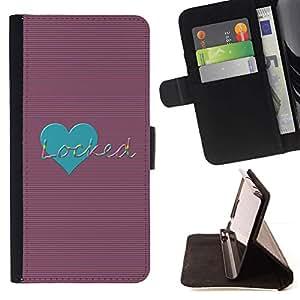 Momo Phone Case / Flip Funda de Cuero Case Cover - Amor del trullo bloqueado Corazón Rayas Líneas - Motorola Moto E ( 2nd Generation )